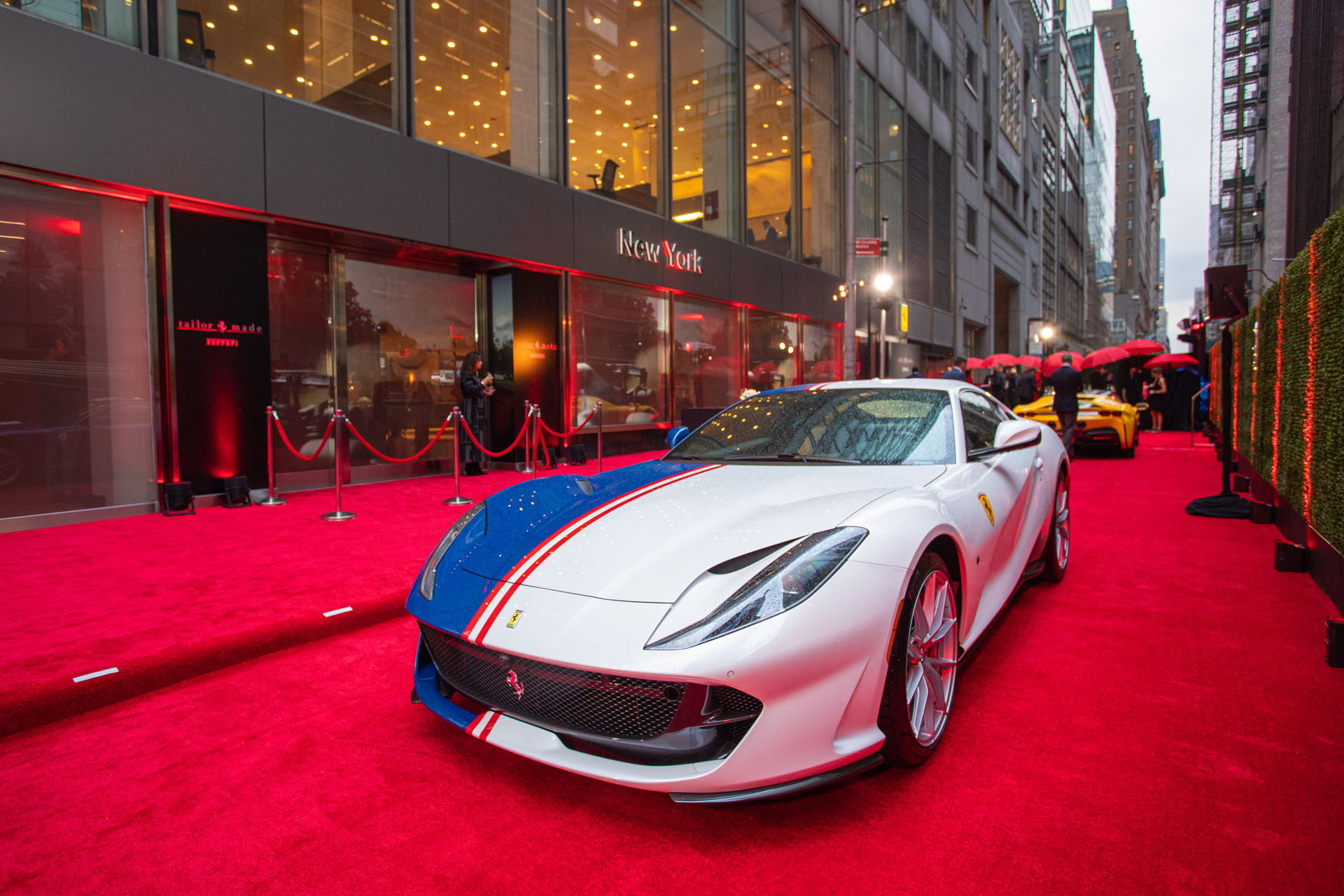 Car on the red carpet at the Opening of Ferrari's Tailor Made Center iun NYC